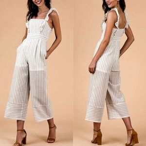 SANDY Striped Ruffle Jumpsuit - TAUPE